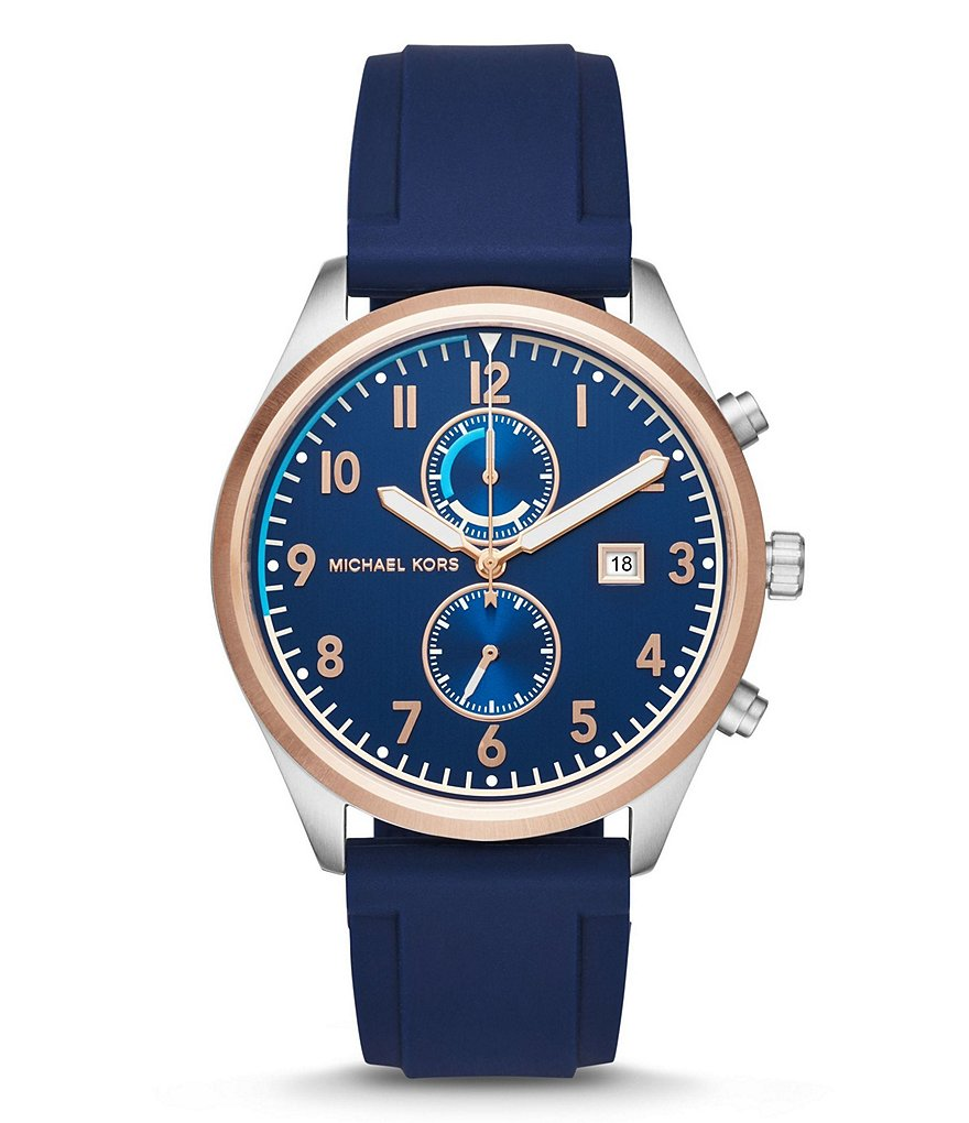 Michael Kors Saunder Chronograph & Date Silicone-Strap Watch
