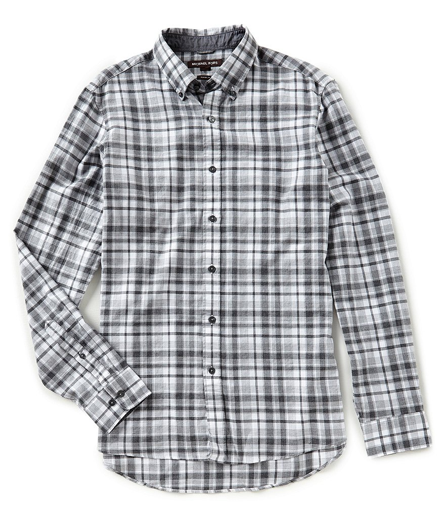 Michael Kors Teddy Plaid Long-Sleeve Woven Shirt