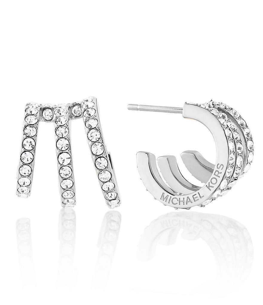 Michael Kors Triple-Row Pavé Huggie Hoop Earrings
