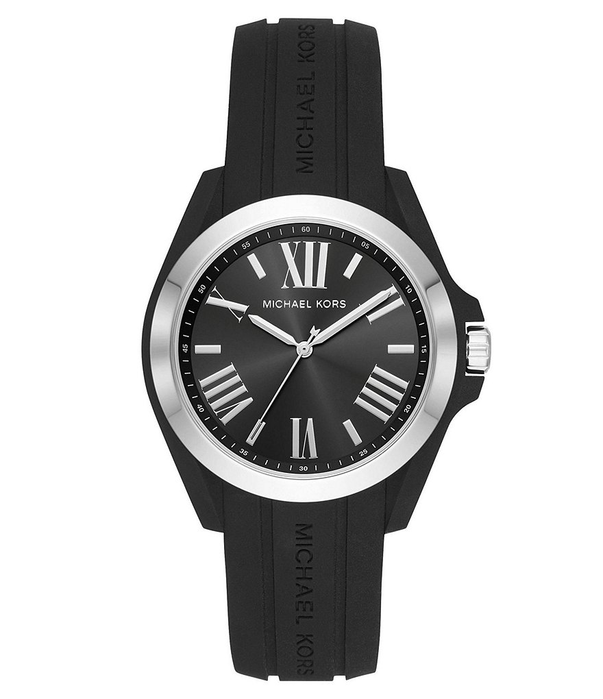 Michael Kors Women's Bradshaw Stainless-Steel and Black Silicone Watch
