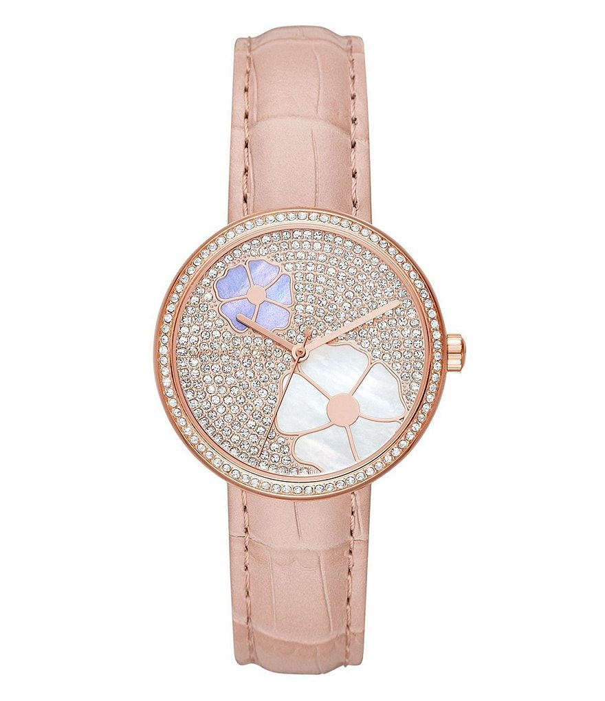 Michael Kors Women's Courtney Rose Gold-Tone and Blush Croc Leather Watch