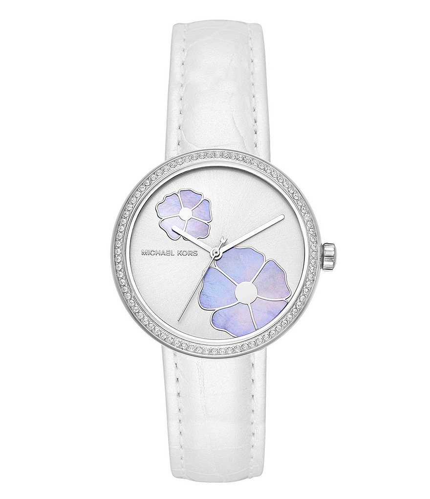 Michael Kors Women's Courtney Stainless-Steel and White Leather Watch