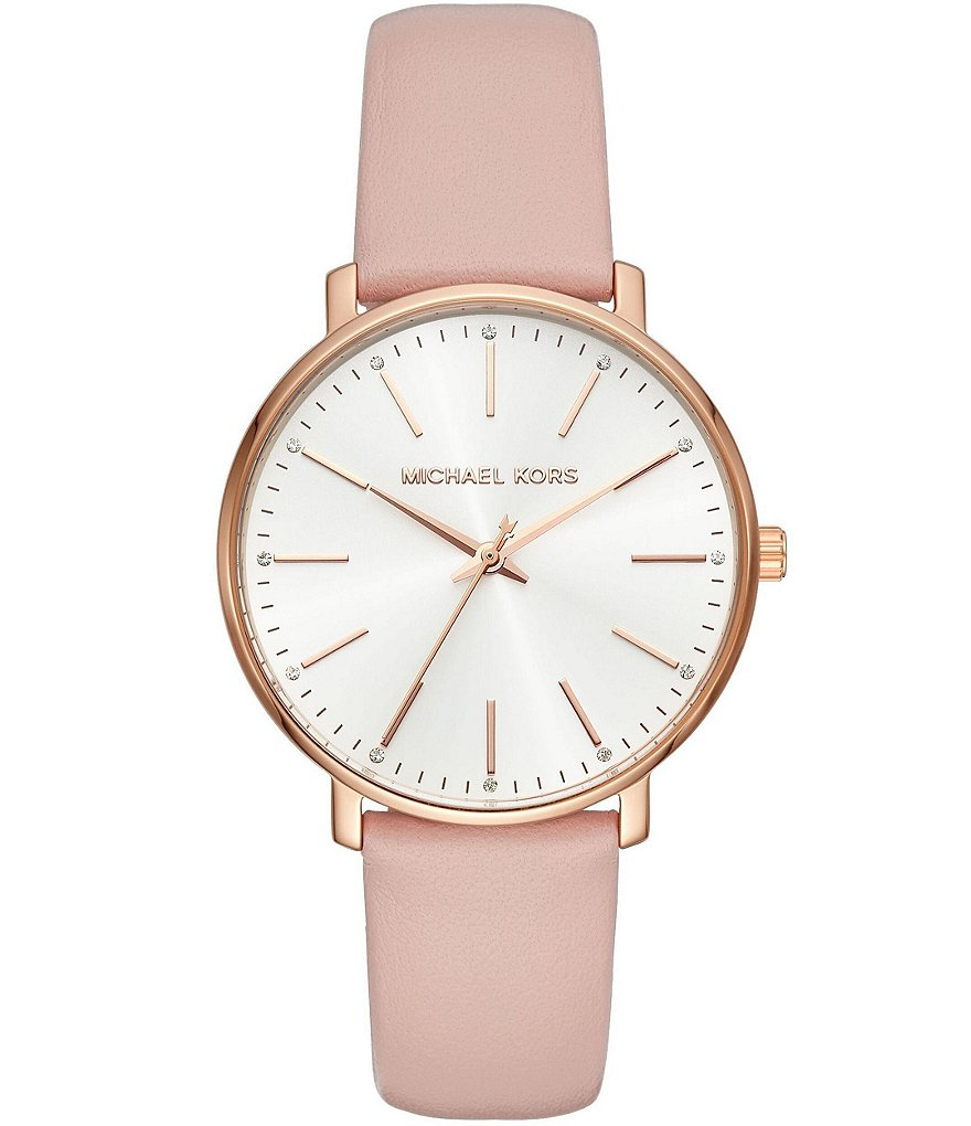 Michael Kors Women's Rose Gold-Tone and Blush Leather Pyper Watch