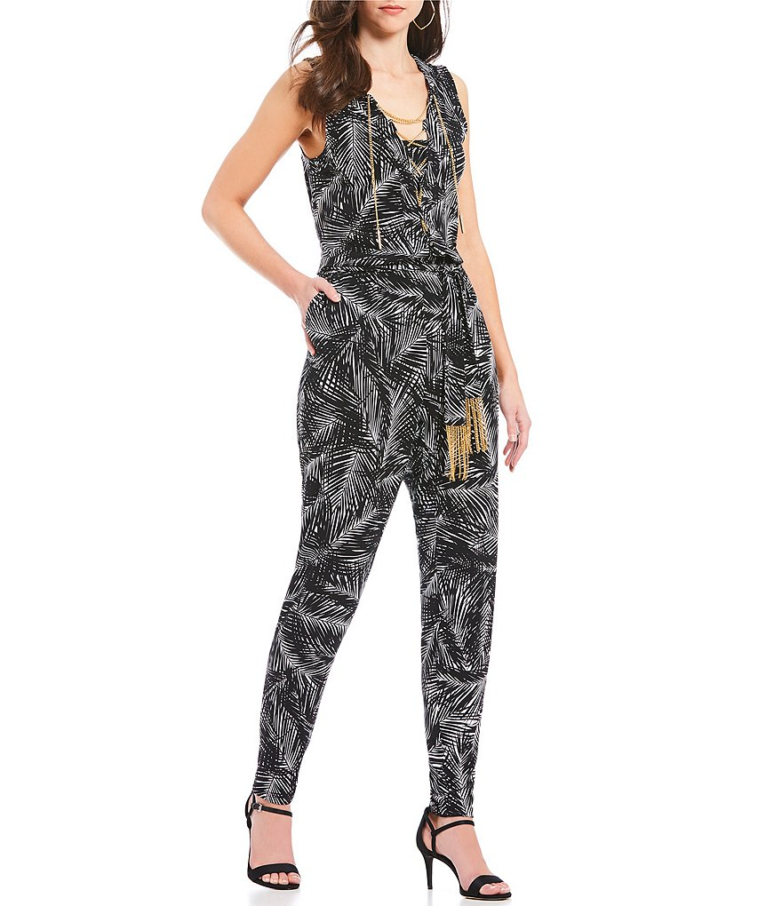 MICHAEL Michael Kors Abstract Palm Print Matte Jersey Chain Lace-Up V-Neck Belted Jumpsuit