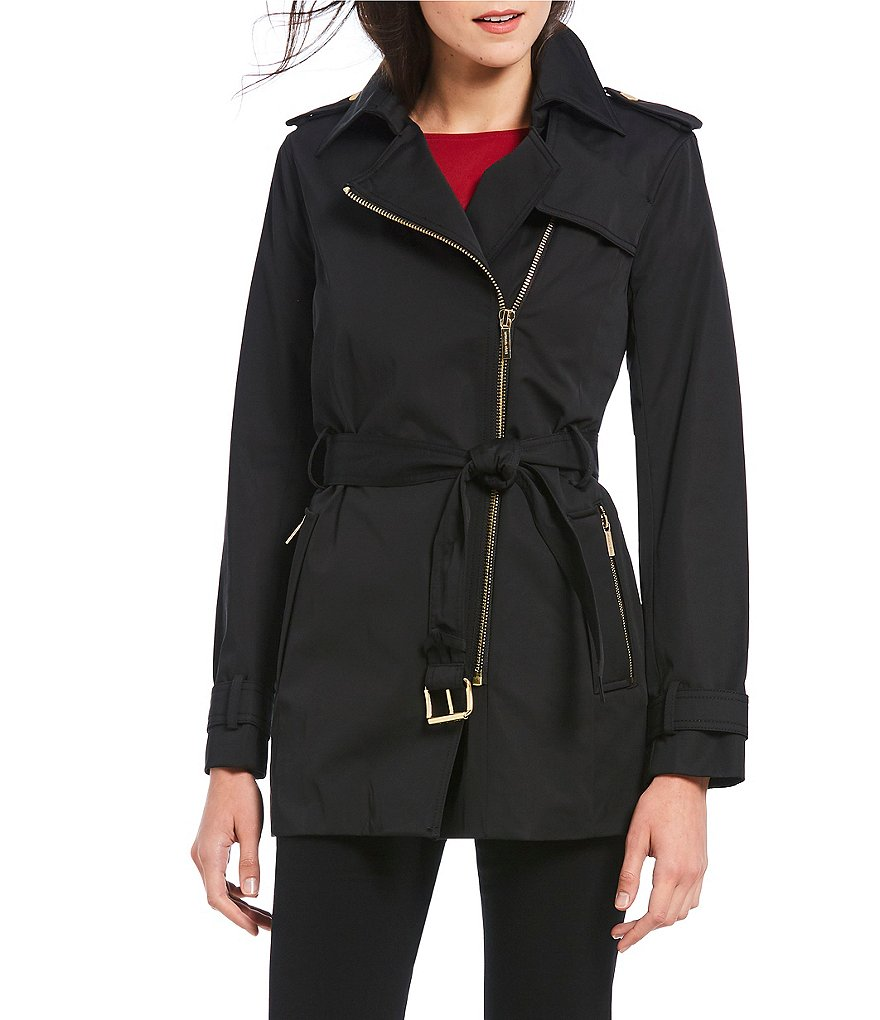 MICHAEL Michael Kors Asymmetrical Zip-Front Belted Trench Coat