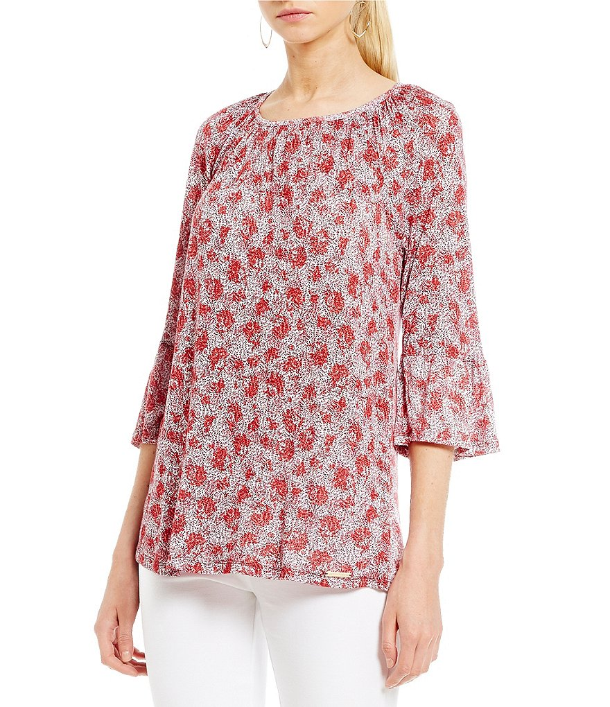 MICHAEL Michael Kors Augusta Floral Print Knit Jersey Gathered Bell Sleeve Peasant Top