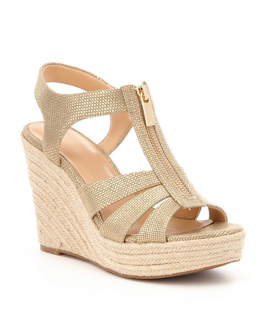 MICHAEL Michael Kors Berkley Metallic Canvas Front Zip Espadrille Wedges