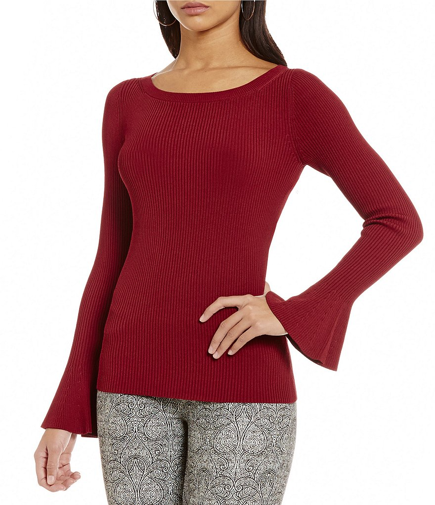MICHAEL Michael Kors Boat Neck Bell Sleeve Ribbed Knit Sweater
