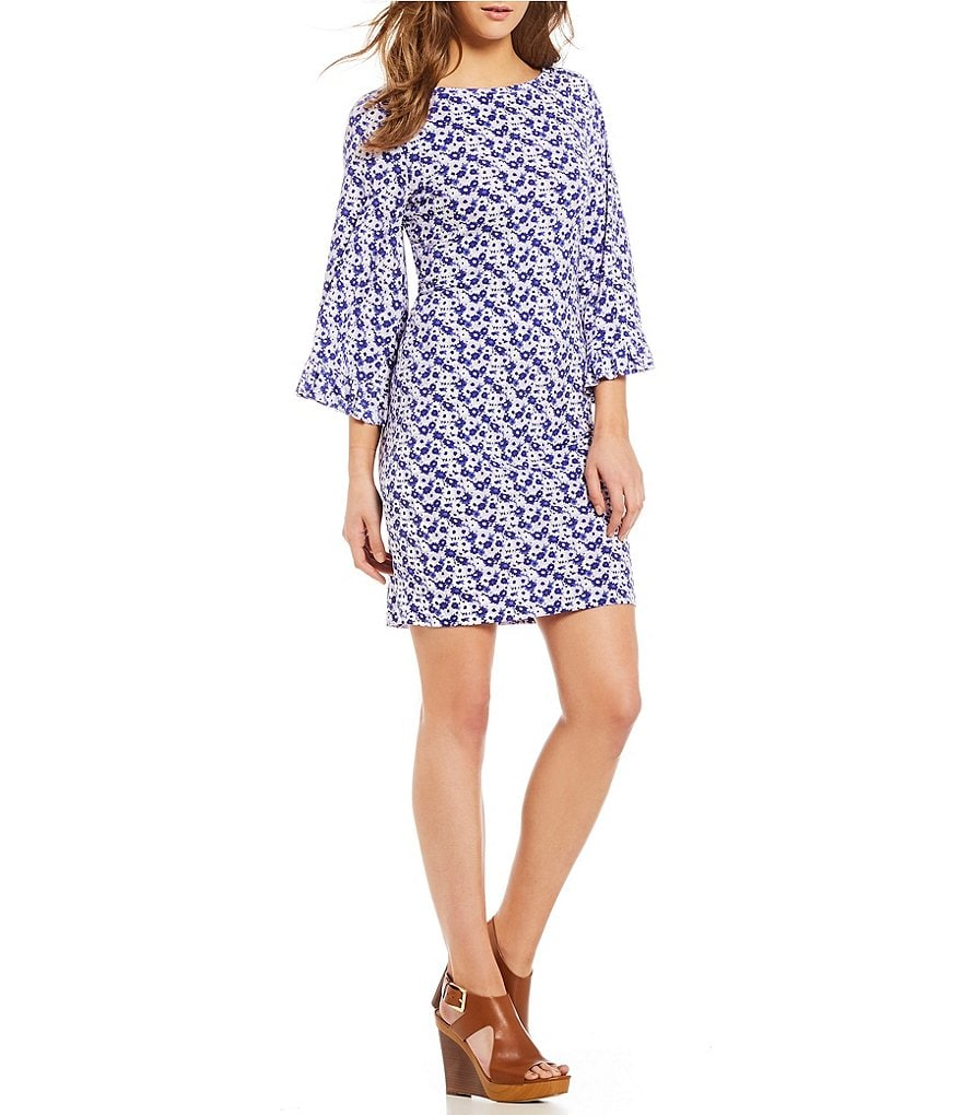 MICHAEL Michael Kors Carnation Floral Print Matte Jersey Flare Sleeve Shift Dress
