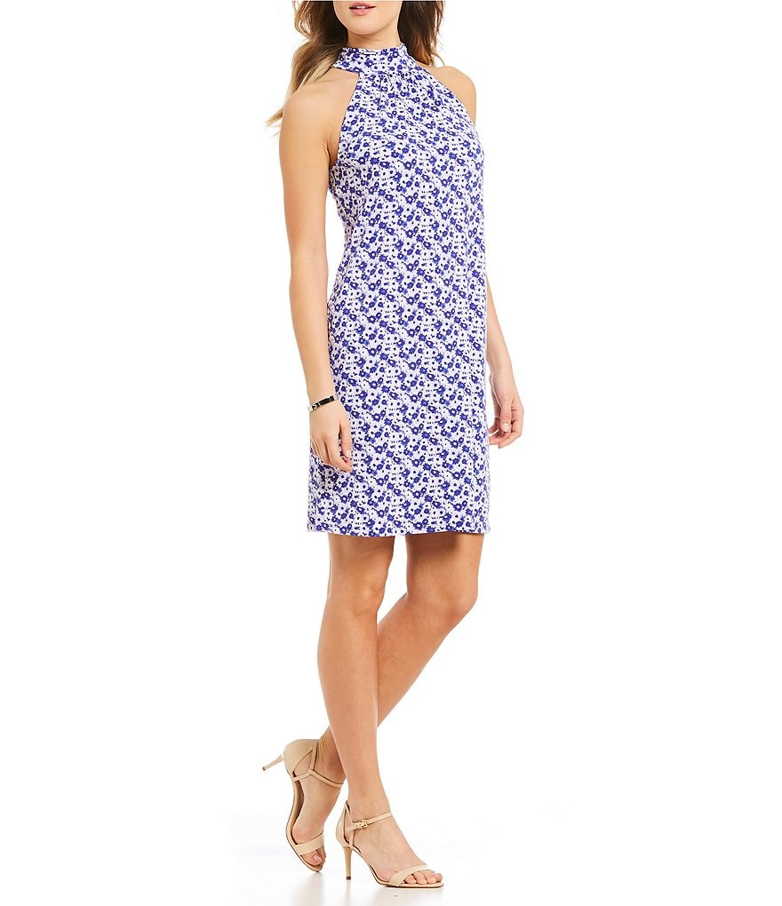 MICHAEL Michael Kors Carnation Floral Print Matte Jersey Halter Neck Dress