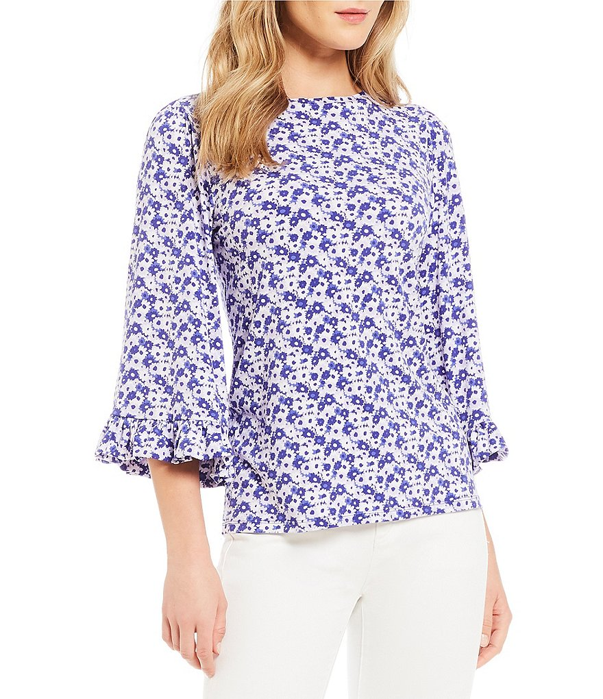 MICHAEL Michael Kors Carnation Floral Print Ruffle Sleeve Top