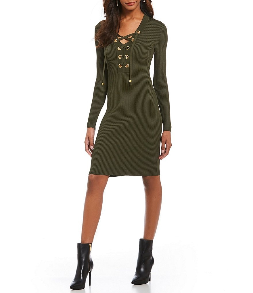 MICHAEL Michael Kors Chain Lace-up Neck Ribbed Compression Knit Dress