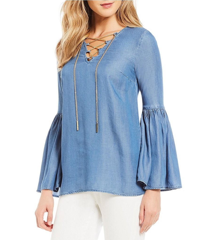MICHAEL Michael Kors Chain Lace-Up V-Neck Bell Sleeve Denim Top