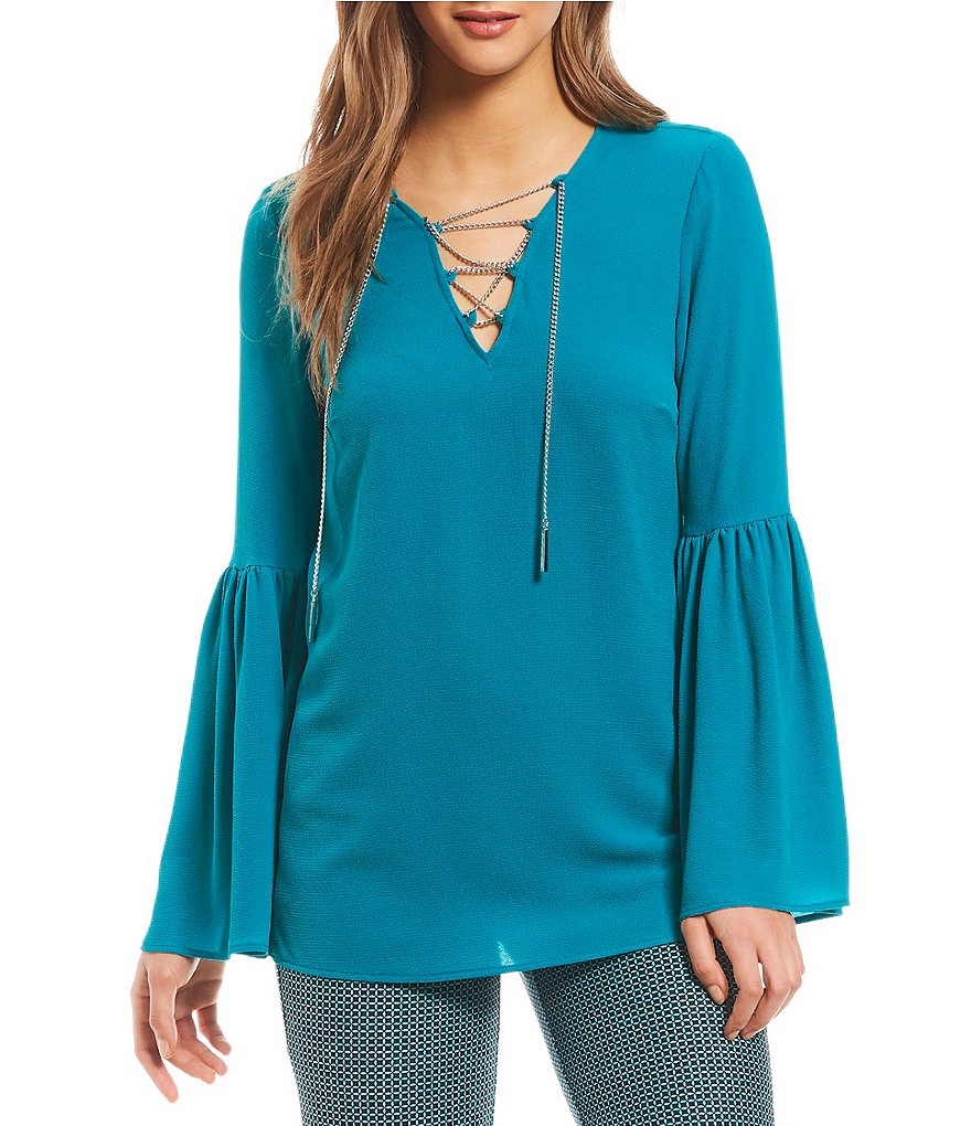 MICHAEL Michael Kors Chain Lace-Up V-Neck Bell Sleeve Top