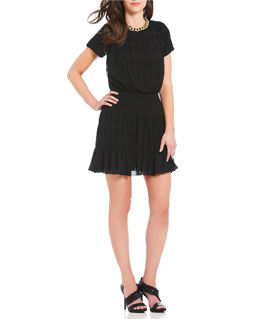 MICHAEL Michael Kors Chain Neck Chiffon Flounce Hem Dress