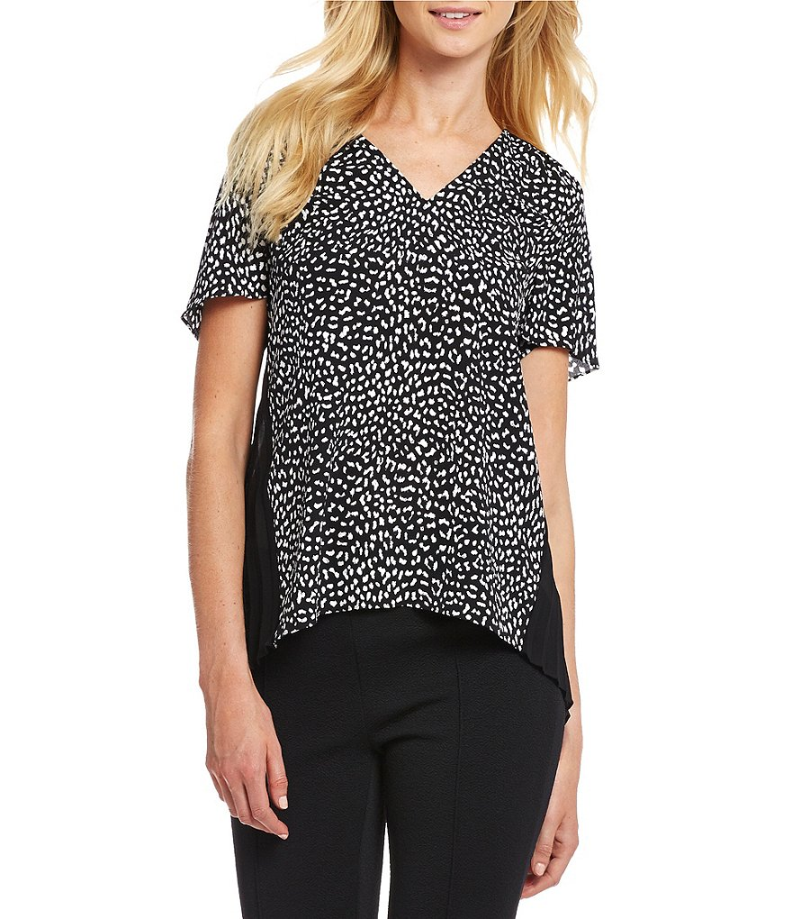 MICHAEL Michael Kors Cheetah Print V-Neck Pleated Back Hi-Low Mixed Media Top