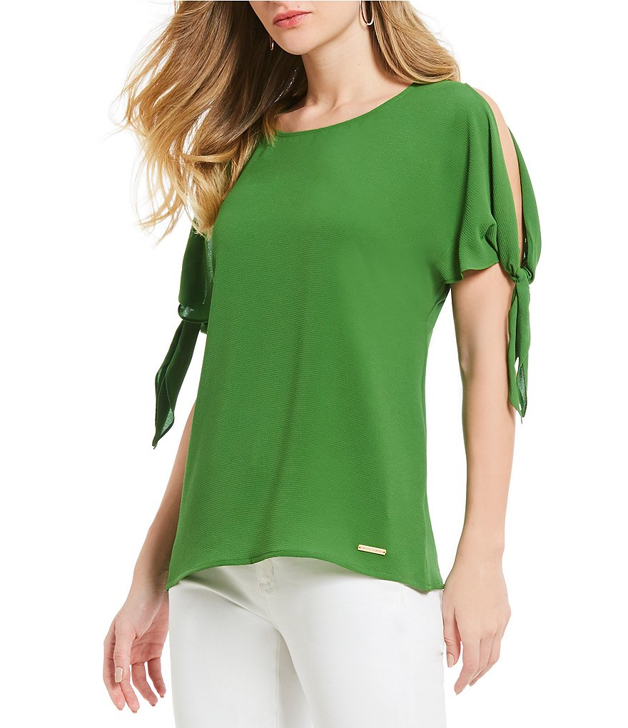 MICHAEL Michael Kors Cold Shoulder Tie Sleeve Tunic