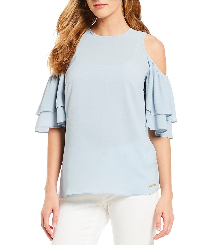 MICHAEL Michael Kors Cold Shoulder Tiered Ruffle Short Sleeve Top
