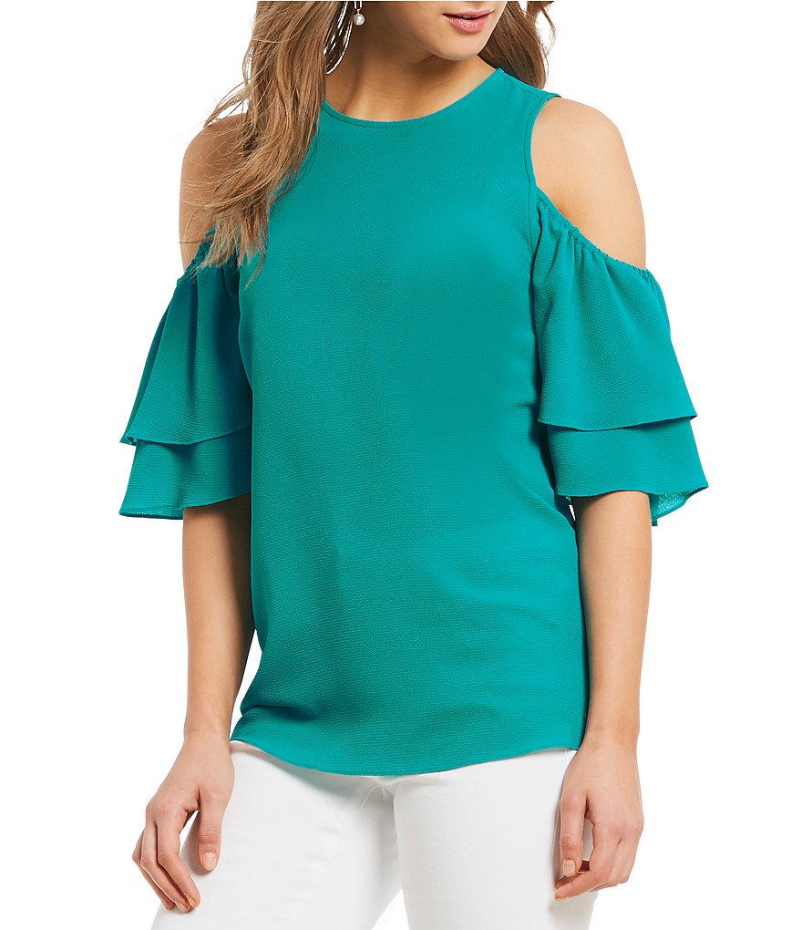 MICHAEL Michael Kors Cold Shoulder Tiered Ruffle Short Top