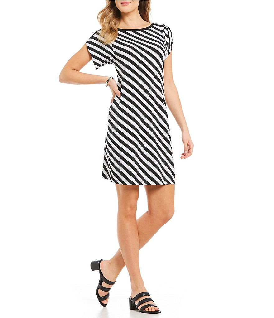 MICHAEL Michael Kors Diagonal Stripe Print Matte Jersey Dress