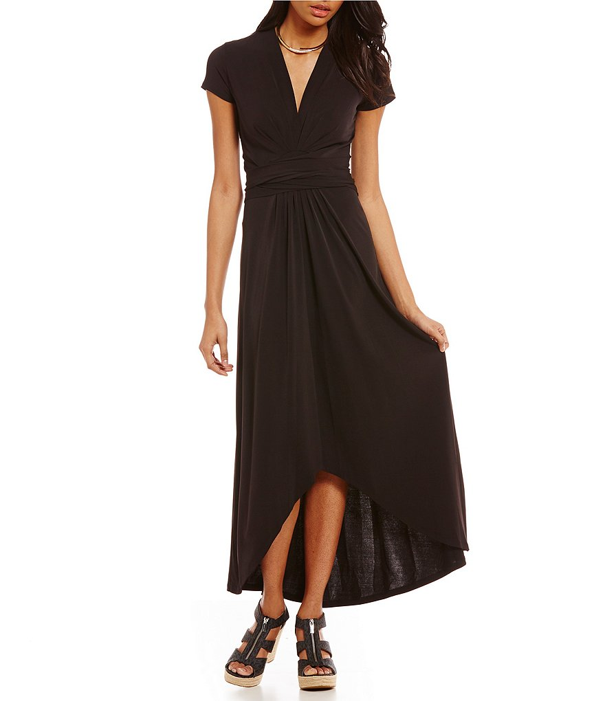 MICHAEL Michael Kors Faux-Wrap Style Matte Jersey Hi-Low Maxi Dress