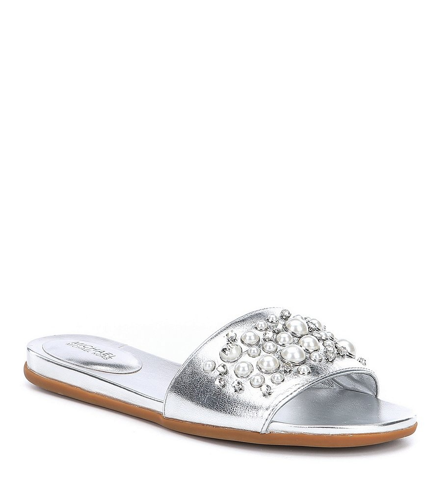 MICHAEL Michael Kors Gia Pearl and Stud Slide Sandals