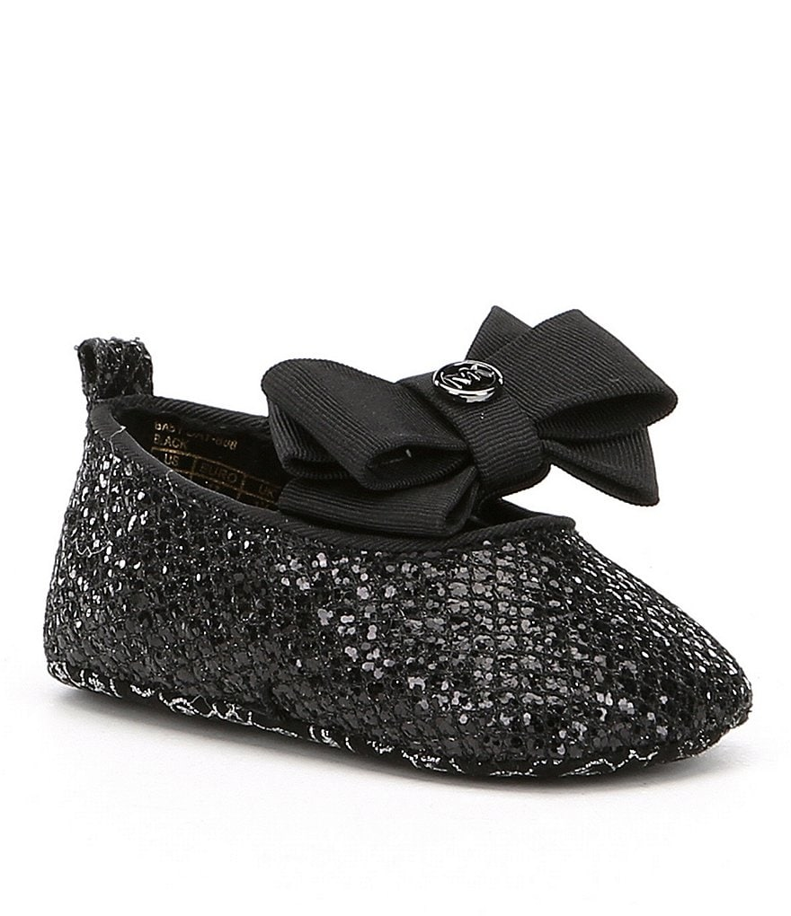 MICHAEL Michael Kors Girls' Baby Day Sparkle Ballet Bow Detail Crib Shoes