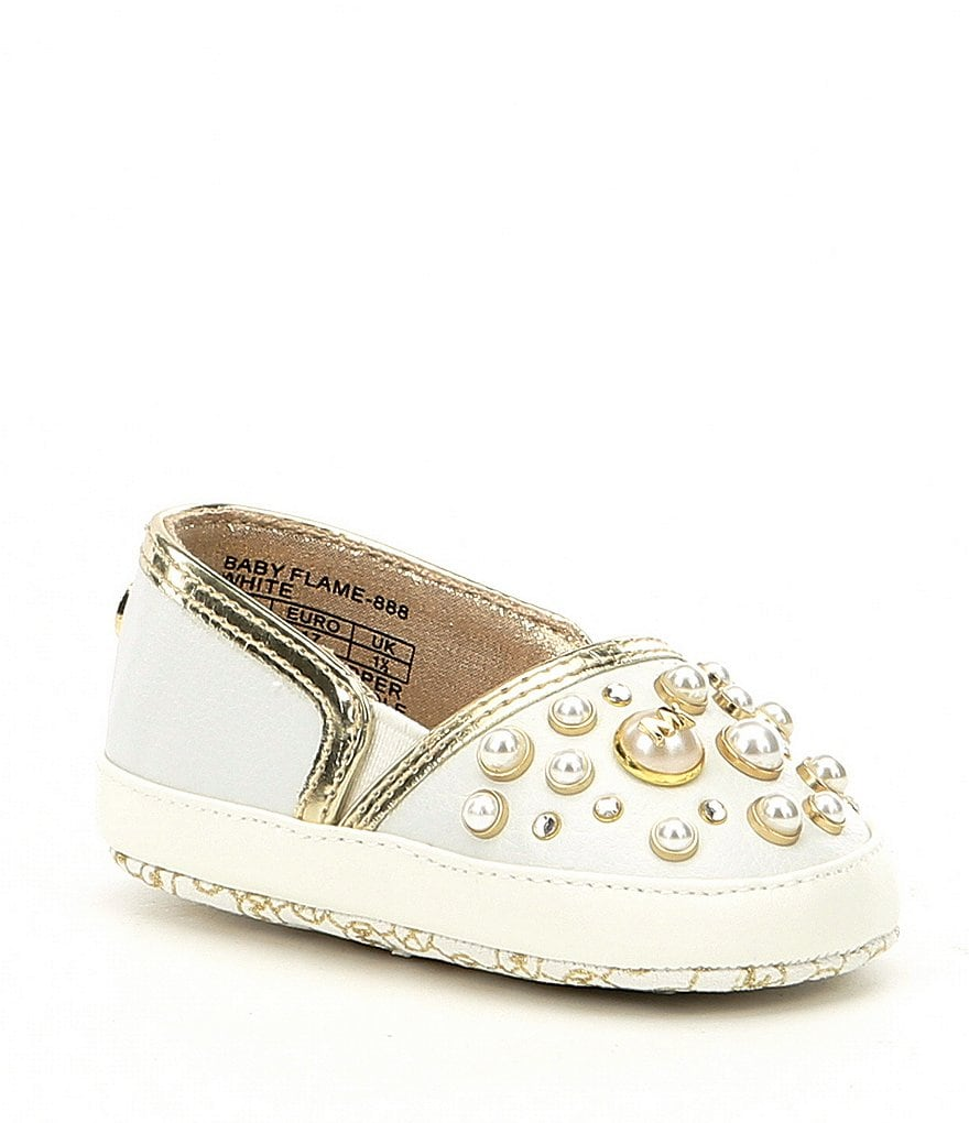 MICHAEL Michael Kors Girls' Baby Flame Pearl Stud Detail Sneaker Crib Shoes
