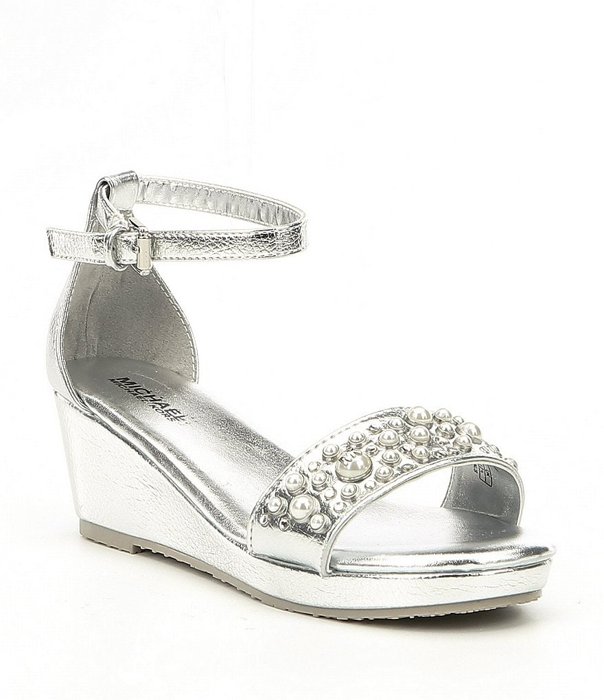 MICHAEL Michael Kors Girls' Cate Choice Metallic Pearl Embellishment Ankle Strap Wedge Sandals