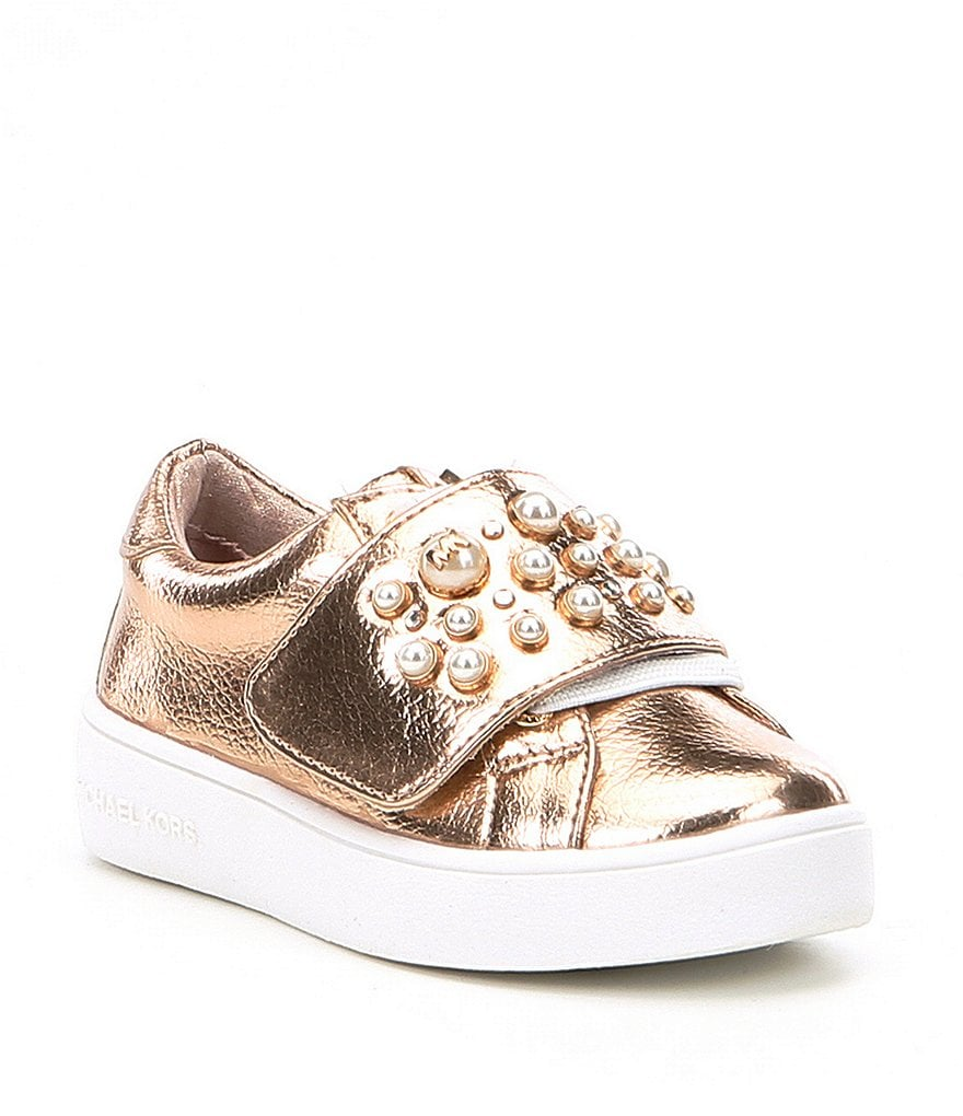 MICHAEL Michael Kors Girls' Ivy Chic Metallic Pearl Stud Detail Sneakers