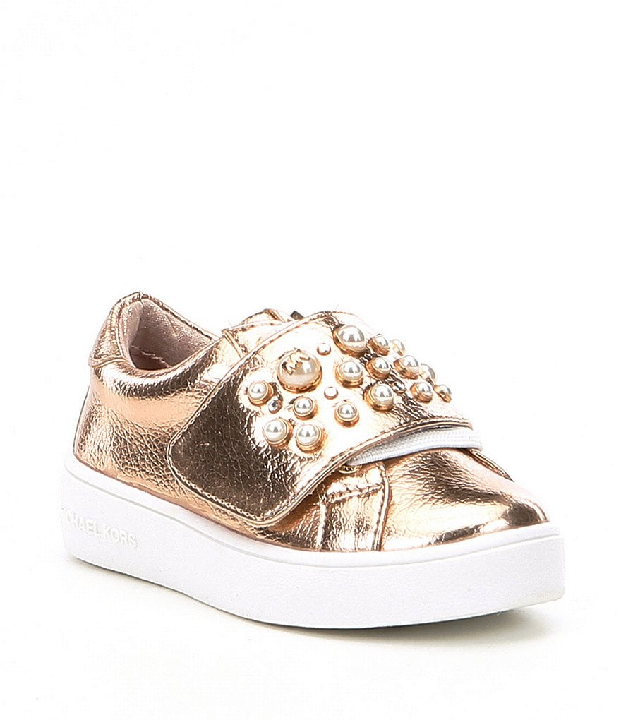 MICHAEL Michael Kors Girls' Ivy Chic-T Metallic Pearl Stud Detail Sneakers