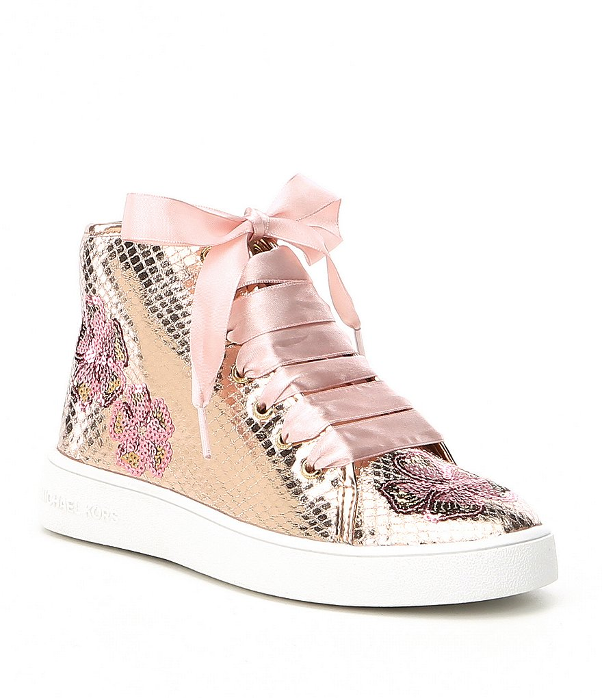 MICHAEL Michael Kors Girls' Ivy Florine Floral Sequin Satin Lace Hi Top Sneakers