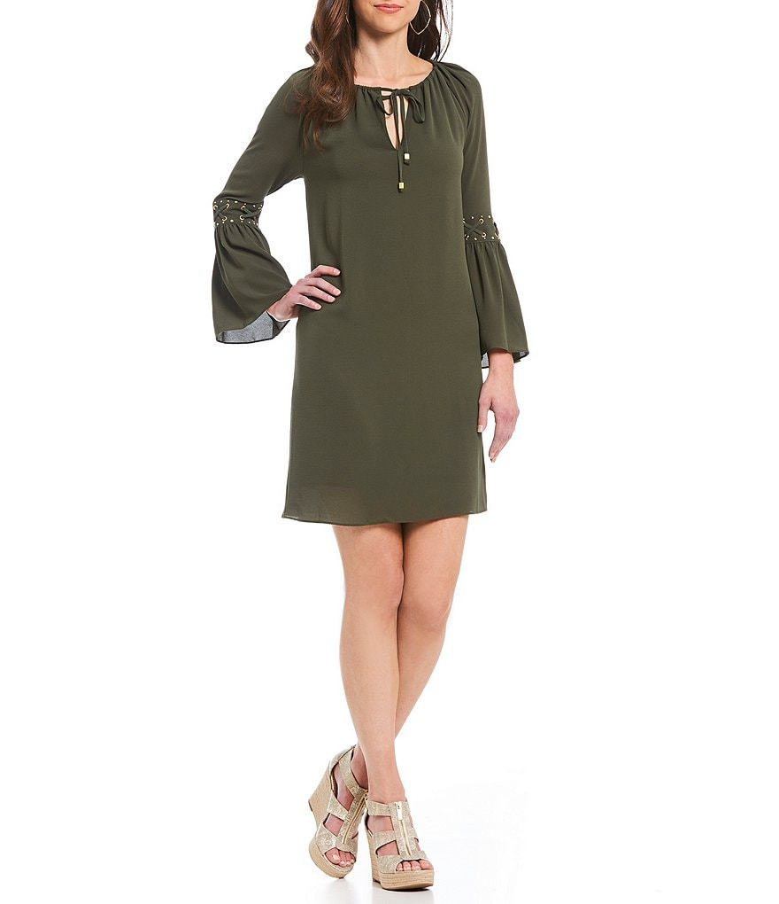 MICHAEL Michael Kors Grommet Lace-up Bell Sleeve Textured Crepe A-Line Dress