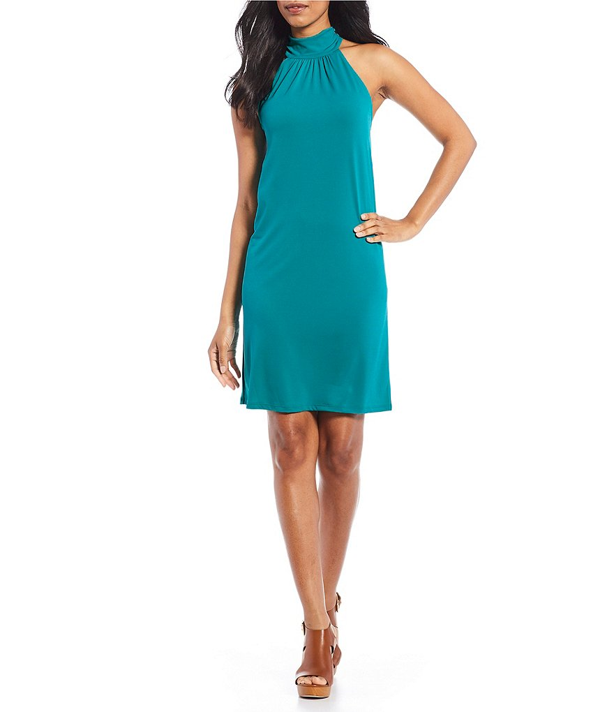 MICHAEL Michael Kors Halter Neck Solid Matte Jersey Dress