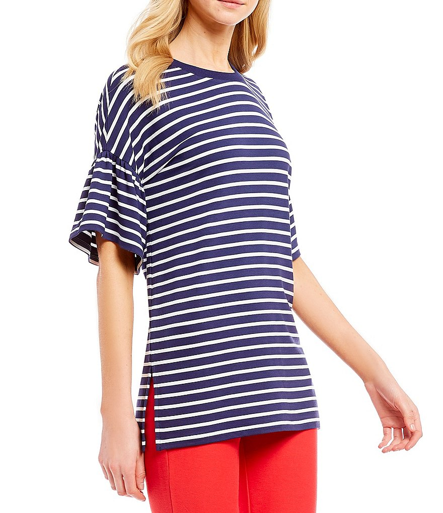 MICHAEL Michael Kors Harbor Stripe Knit Jersey Ruffle Sleeve Tunic