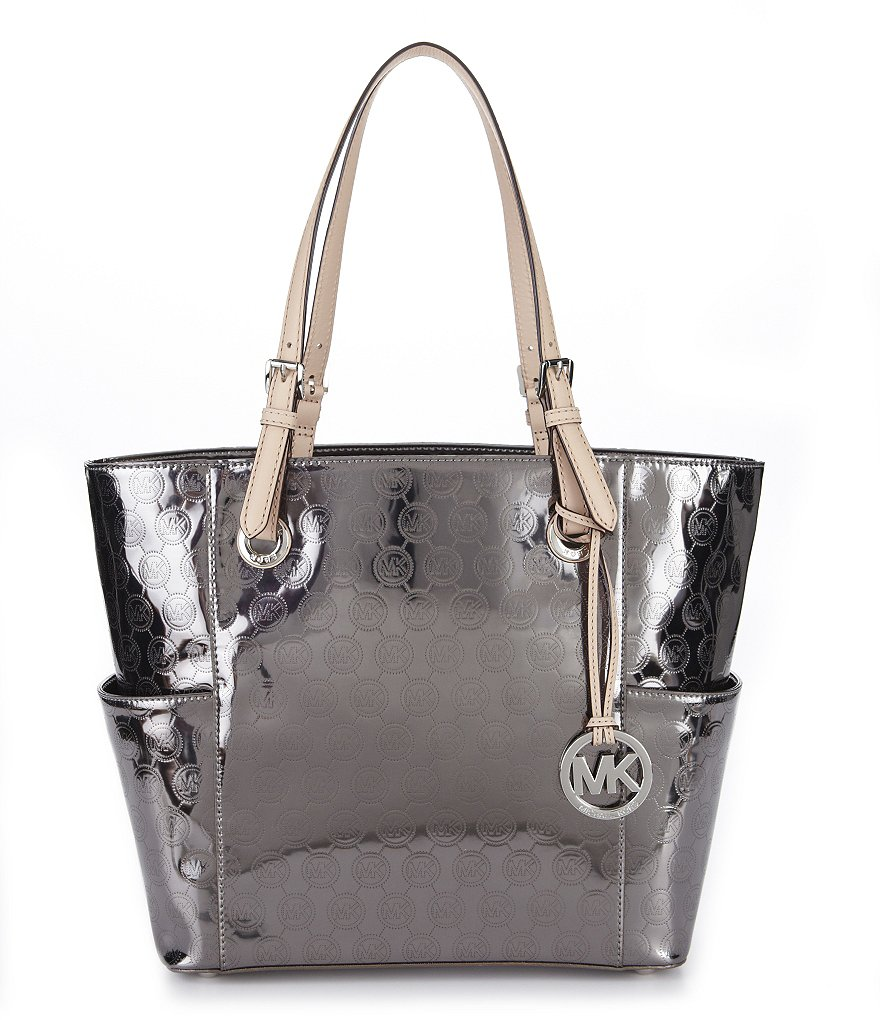 MICHAEL Michael Kors Jet Set Monogram Signature Metallic East/West Tote