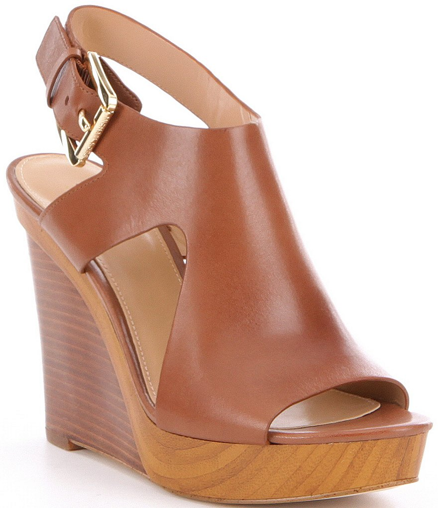 feb75adb4bf MICHAEL Michael Kors Josephine Leather Peep Toe Wedges