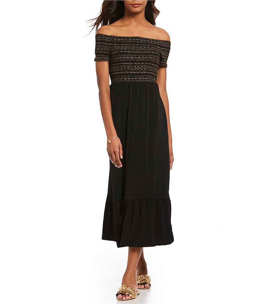 MICHAEL Michael Kors Matte Jersey Off-The-Shoulder Smocked Bodice Midi Dress