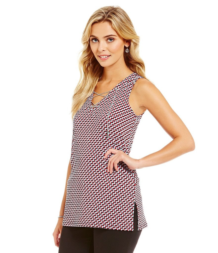 MICHAEL Michael Kors Metal Chain Lace-Up V-Neck Printed Matte Jersey Sleeveless Tunic