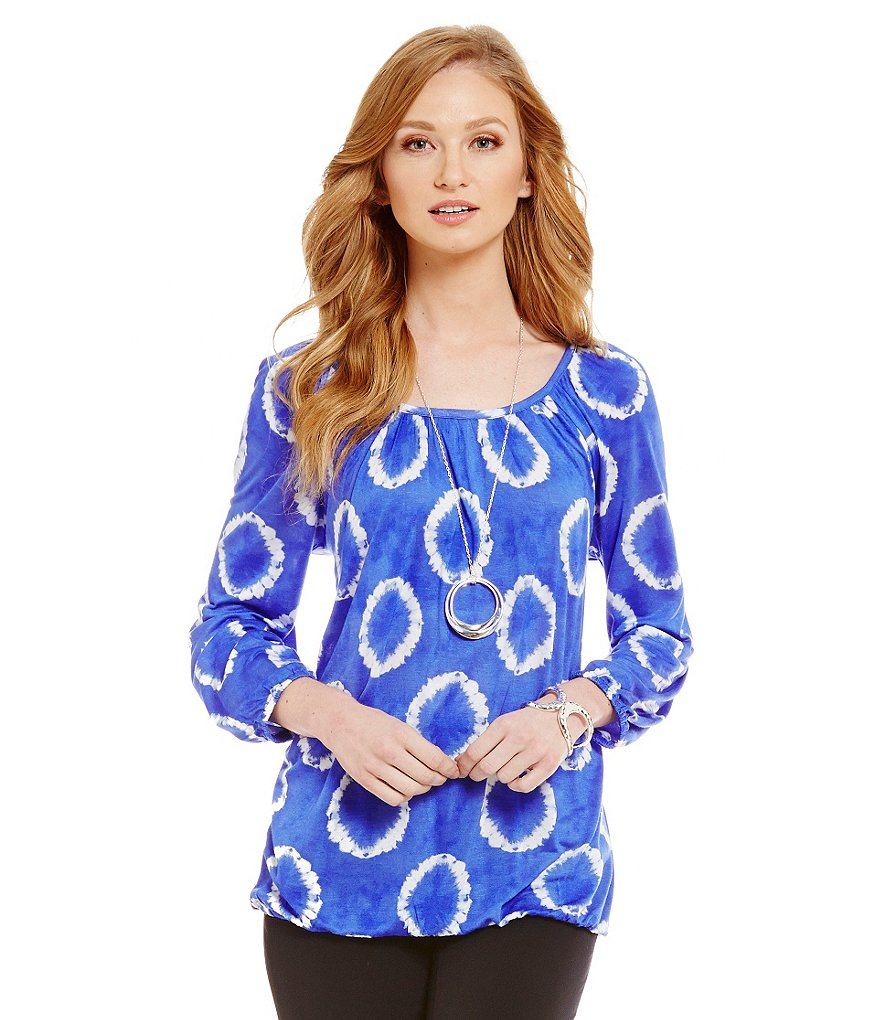 MICHAEL Michael Kors Mini Mission Tie-Dye Printed Knit Jersey Peasant Top