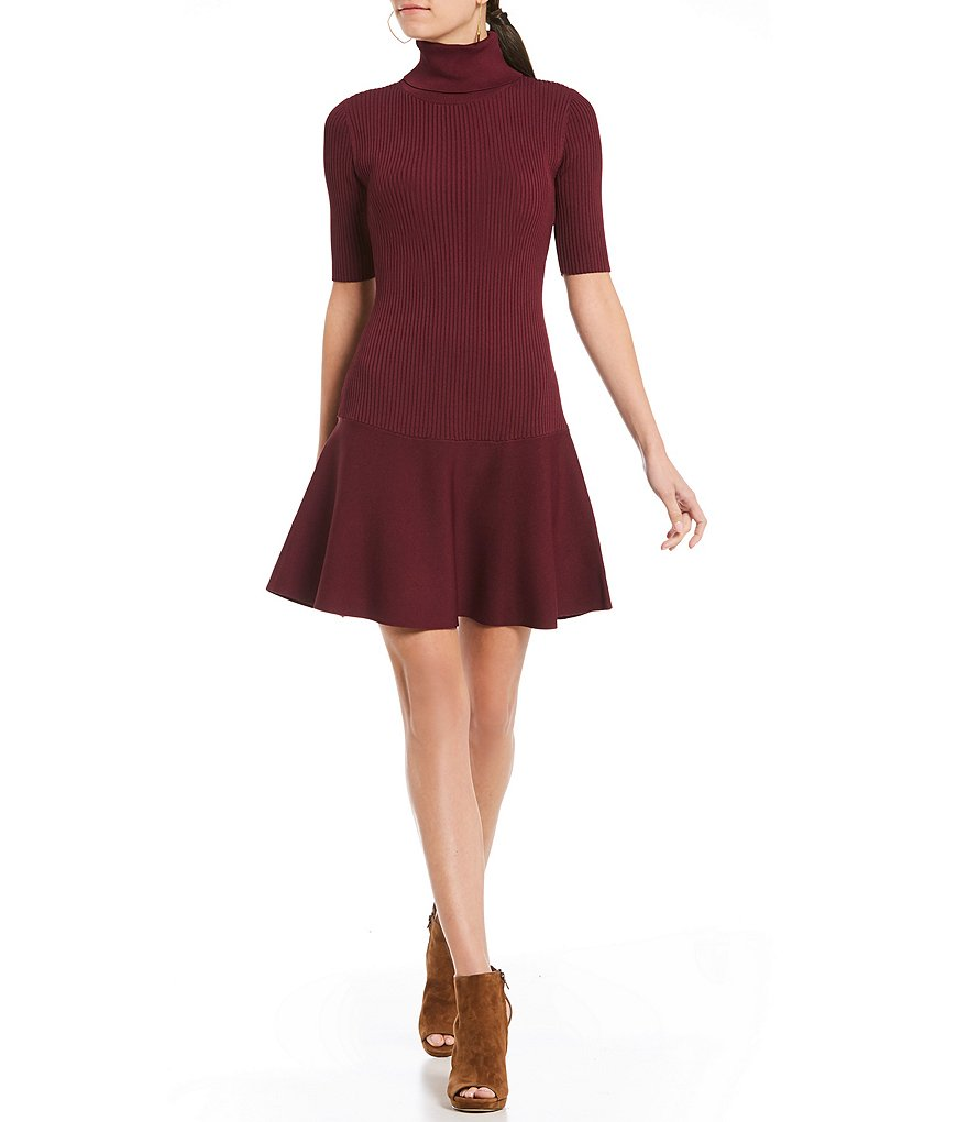 MICHAEL Michael Kors Mock Neck Flounce Hem Sweater Dress