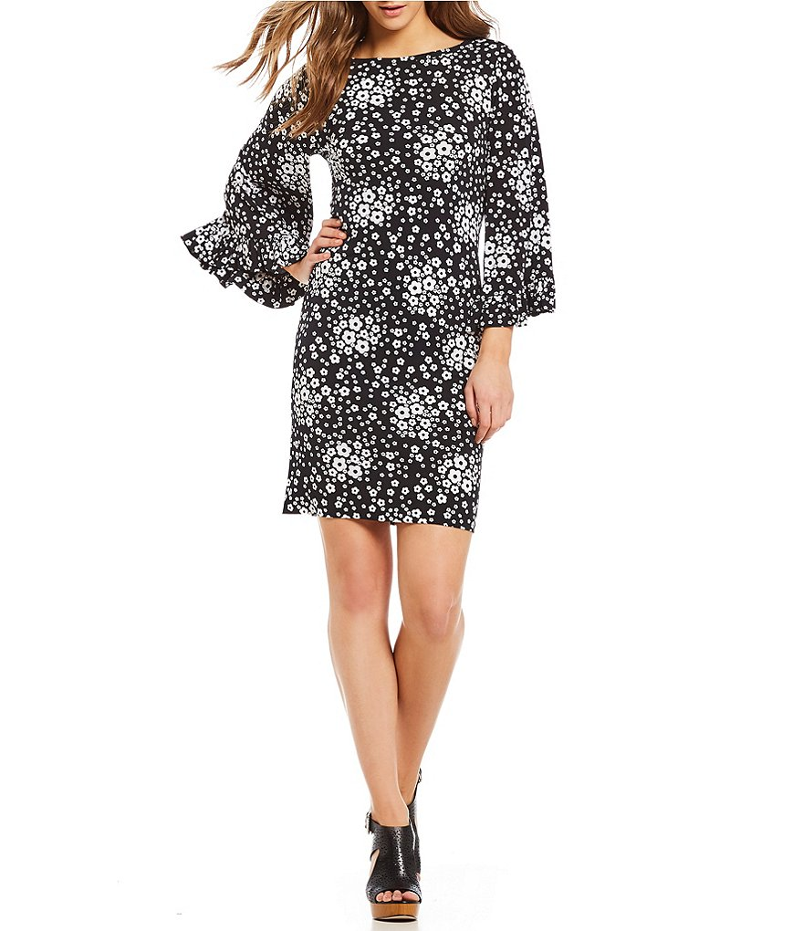 MICHAEL Michael Kors Mod Floral Print Matte Jersey Flare Sleeve Shift Dress