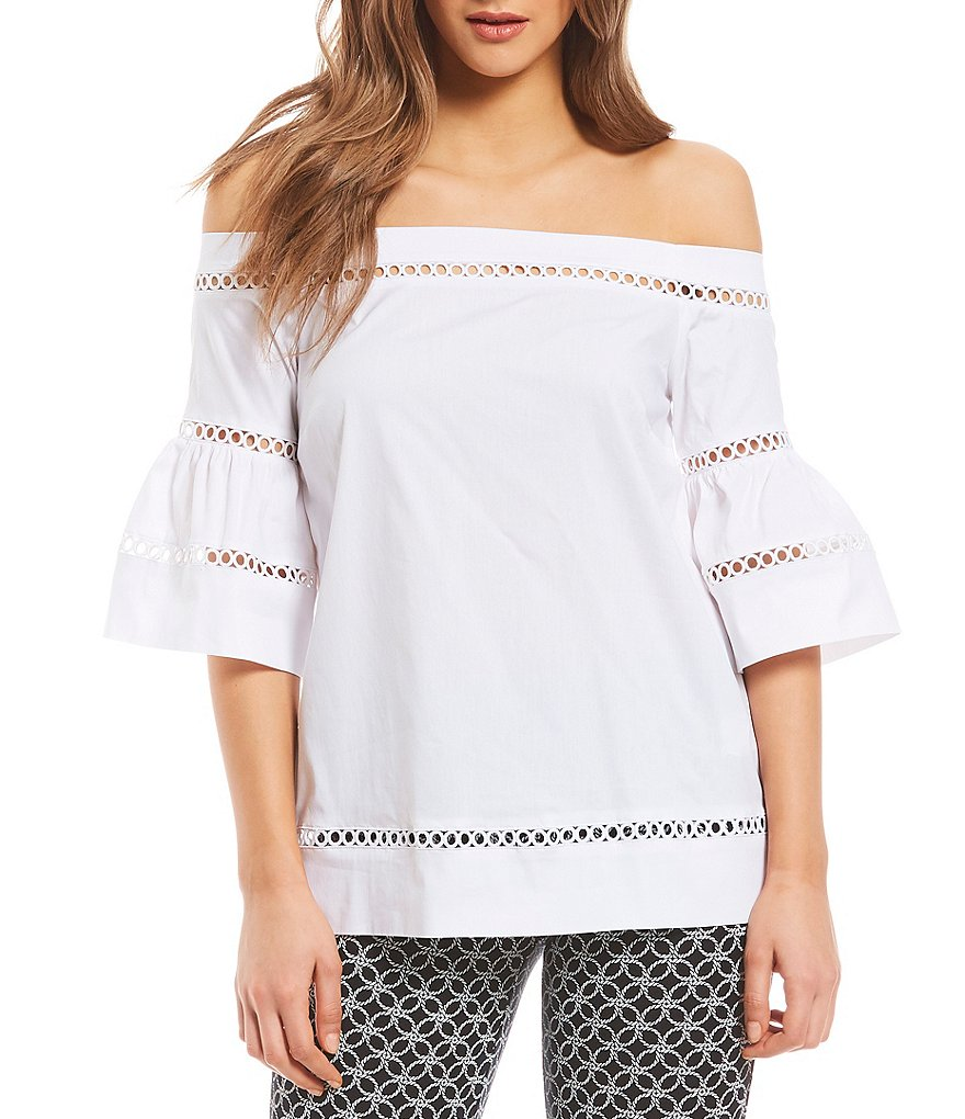 MICHAEL Michael Kors Off-The-Shoulder Lace Trim Poplin Bell Sleeve Top