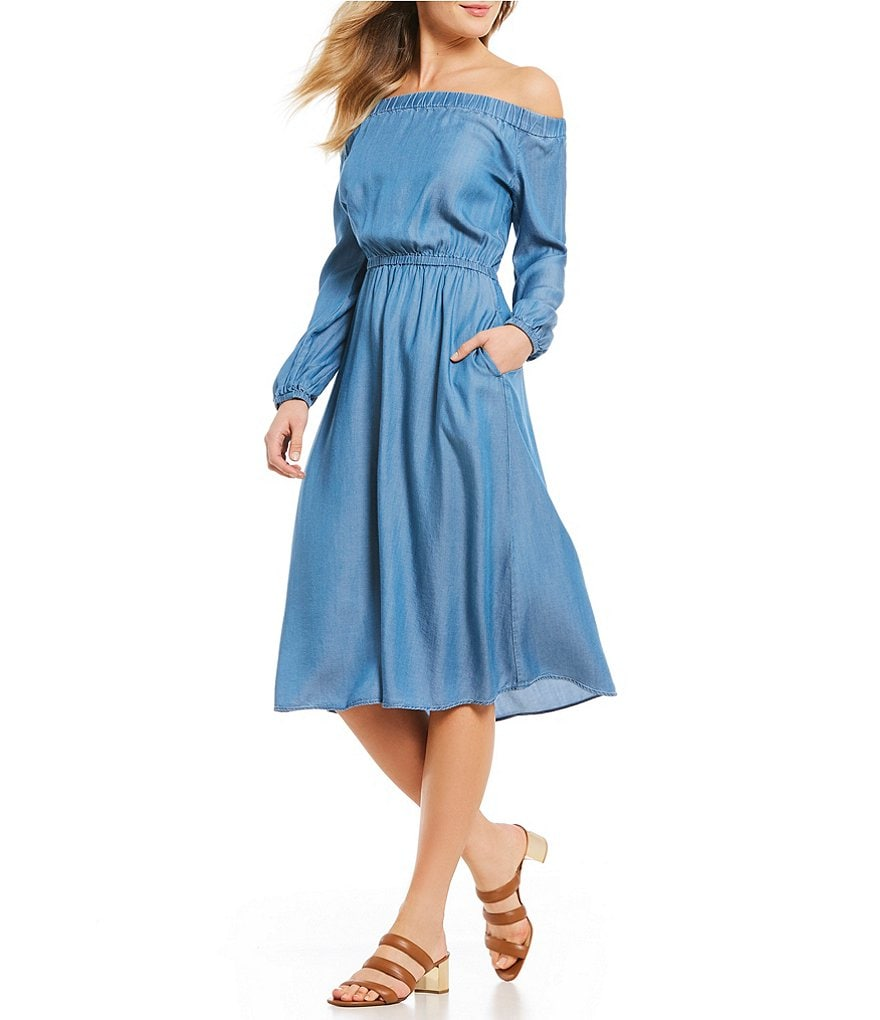 MICHAEL Michael Kors Off-The-Shoulder Long Sleeve Denim Midi Dress