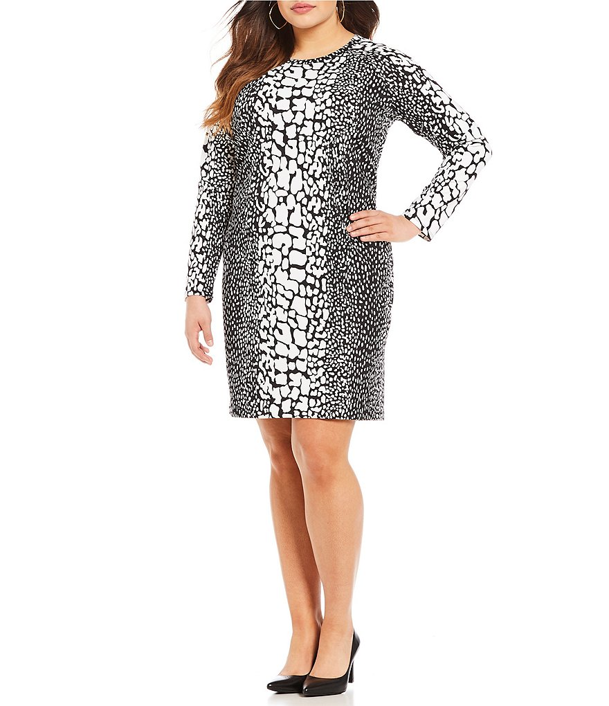 MICHAEL Michael Kors Plus Crocodile Skin Print Ponte Knit Dress