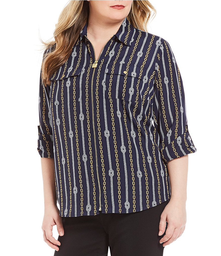 MICHAEL Michael Kors Plus Reef Knot Chains Print Lock-Tag Zip Front Roll-Sleeve Shirt