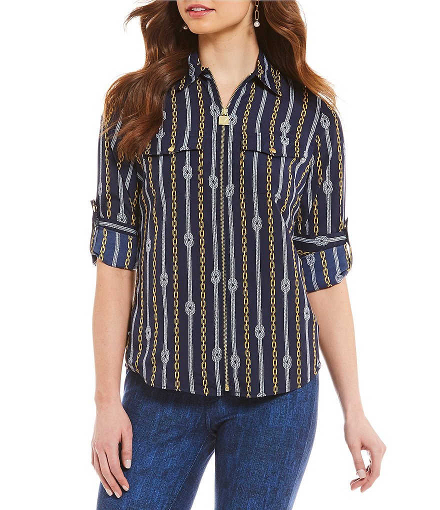 MICHAEL Michael Kors Reef Knot Chains Print Lock-Tag Zip Front Roll-Sleeve Shirt