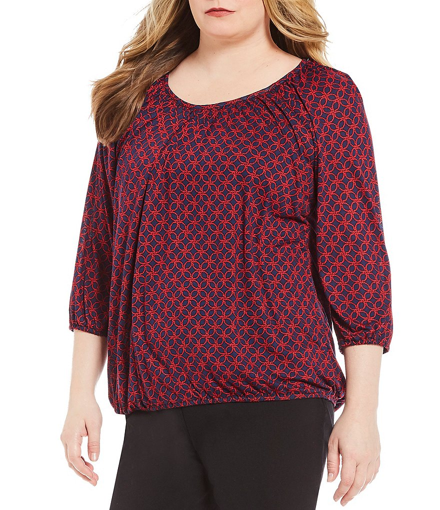 MICHAEL Michael Kors Plus Rope Geometric Print Knit Jersey Peasant Top