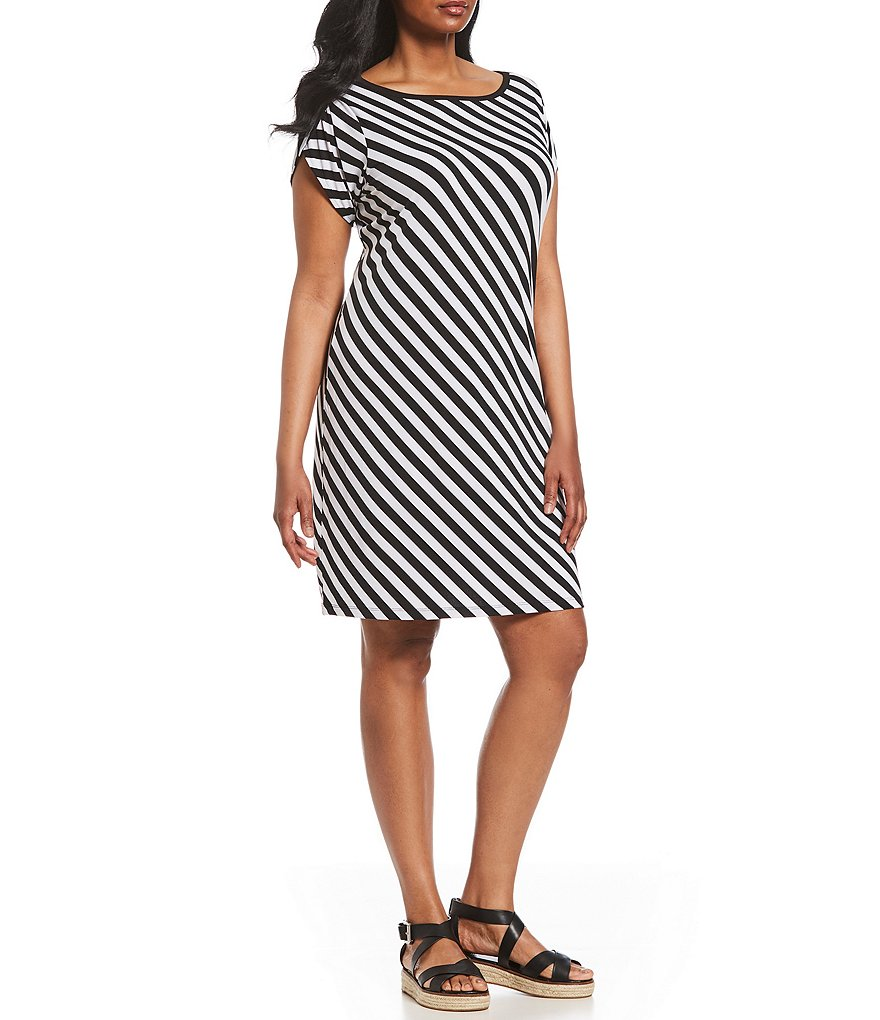 MICHAEL Michael Kors Plus Size Diagonal Stripe Print Matte Jersey Dress