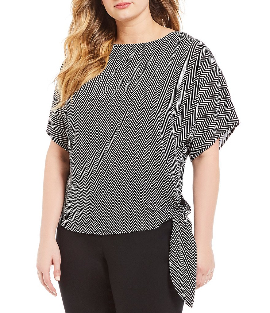 MICHAEL Michael Kors Plus Size Graphic Chevron Stripe Print Side-Tie Top